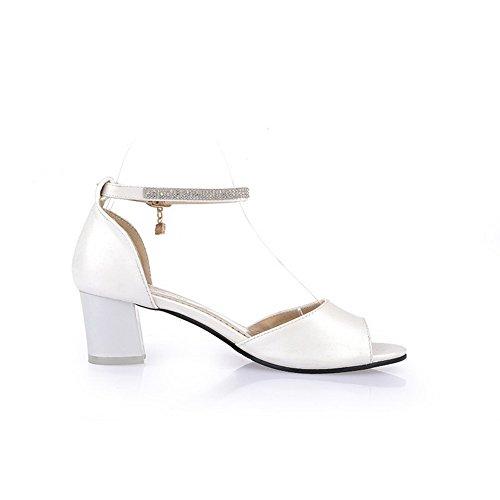 1TO9 Girls Glass Diamond Kitten-Heels Polyurethane Sandals White 1PNFp