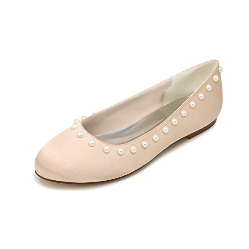 Shoes Wedding Champagne L Close color Toe yc Bride's Flat Multi Tacchi Alti Single Women qqr8EFZ