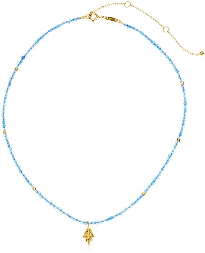 Satya Jewelry Blue Agate Gold Plated Hamsa Choker Necklace, 14'' + 3'' Extender by Satya Jewelry