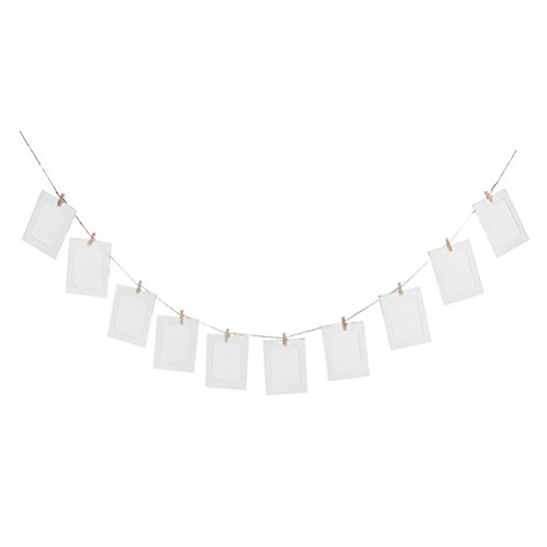 Hanging Album Clip Kraft Paper Photo Frame Strings Rope Clips Sets for Wedding Decoration Garland (White)10pcs DIY 6inch (Photo Garland)