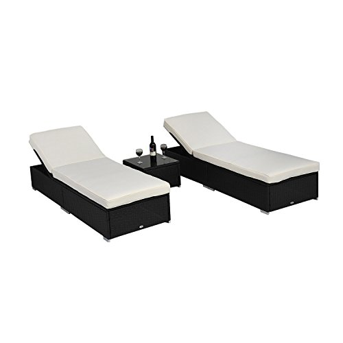 Outsunny 3PC Rattan Reclining Sun Lounger with Side Table