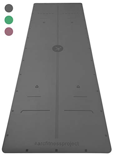 ARC fitness project 72 x 24 x 4mm NON-SLIP YOGA MAT w ARC ALIGNMENT PRO - ECO-FRIENDLY, UNMATCHED GRIP, Original Unique Alignment PRO Marker System, INVENTED by local Yogis - Instructors choice
