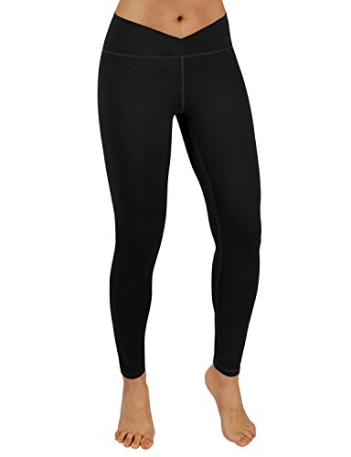 ODODOS Power Flex V Front Yoga Pants,Gym Running Workout Non See-Through Yoga Leggings,Black,Large