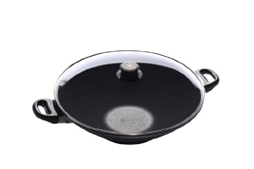 Swiss Diamond Cast-Aluminum Nonstick 14-Inch 6-2/7-Quart Wok with Lid by Swiss Diamond