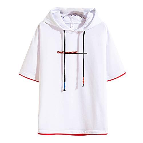 NIUQI Men's Summer Fashion Printing Patchwork Hoodie T-Shirts Short Sleeves Tops White -