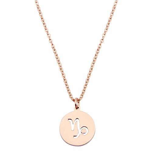 - KUIYAI Zodiac Pendant Necklace Rose Gold Disc Horoscope Necklace Birthday Gift (Capricorn RG)
