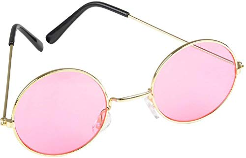 Rhode Island Novelty Round Color Lens Sunglasses | 1 Pair of Pink Glasses ()
