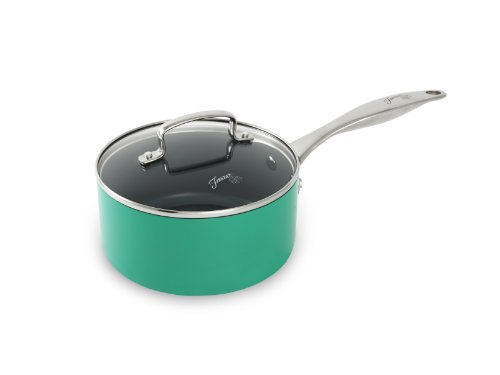 Fiesta 2 Quart Aluminum Non-Stick Ceramic Covered Saucepan, Turquoise