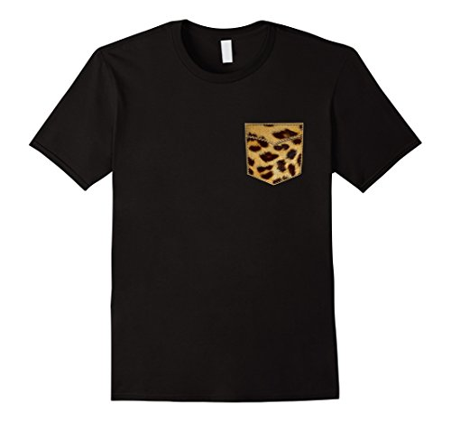 Mens Leopard Print Shirt Leopard Pocket Tee Leopard Design TShirt Medium Black