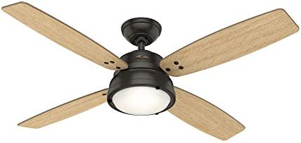 Hunter Indoor Ceiling Fan with light and remote control – Wingate 52 inch, Nobel Bronze, 59438