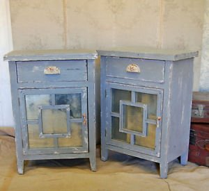Pair of French grey shabby chic vintage style bedside cabinet cupboards