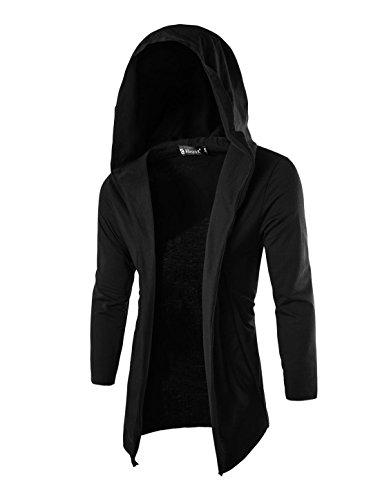 Big Hood - Allegra K Men Long Sleeve Buttonless Slant Pockets Hooded Cardigan Black M