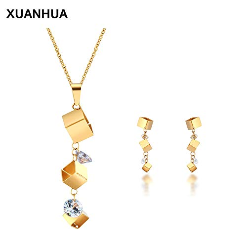 LTH12 Jewelry Sets - Europe and The United States Titanium Steel Stud Earrings Pendant Necklace Women Fashion Jewelry Set 1 PCs