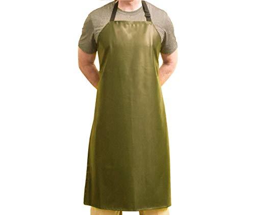 Tuff Apron Green Heavy Duty Waterproof with Neck Adjuster Durable Long Kitchen Dishwashing Bib 41 x 27 PVC Vinyl
