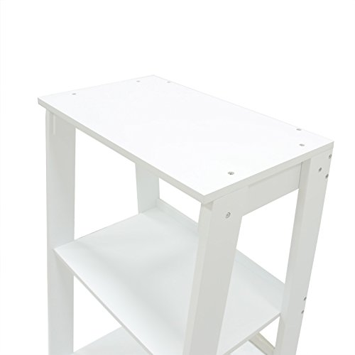 Coismo 3-Tier Ladder Functional Shelf Wooden Home Office Storage Bookcase Display, White by Coismo (Image #4)