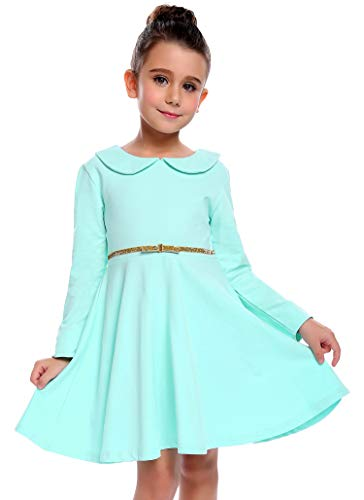 Arshiner Toddle Girls Solid Color Long Sleeve Vintage Doll Collar Ruffled Wedding Party Dress Sapphire 130(Age for 8-9 years) for $<!--$17.47-->
