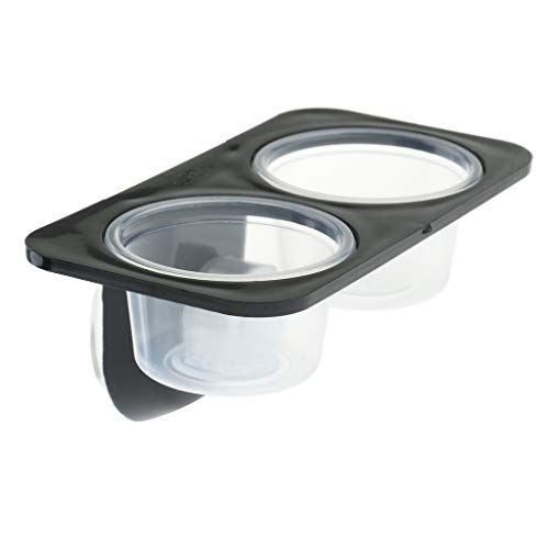 DYNWAVE Plastic Reptiles Food Water Feeding Bowl Insects Spider Breeding Tank Box Dish Dispenser Wall Sucker Mounted Reptile Feeder - Double -