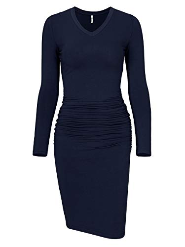 Missufe Women's Long Sleeve V Neck Midi Casual Fitted Basic Ruched Bodycon Dress (V Neck Dark Blue, X-Small)