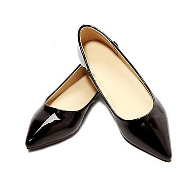 Cómodo y elegante soporte de zapatos de zapatos de mujer charol talón plano punta Toe Flats oficina y carrera/vestido CasualBlack//Azul/Amarillo negro
