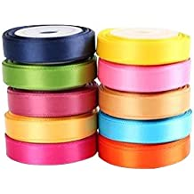 "LaRibbons Solid Color Satin Ribbon Asst. #2 - 10 Colors 3/8"" X 5 Yard Each Total 50 Yds Per Package"