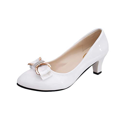 Goldweather Women's Slip On Pumps Shoes Ladies Bowknot Round Toe Mid Heel Dress Party Wedding Shoes Work Shoes White