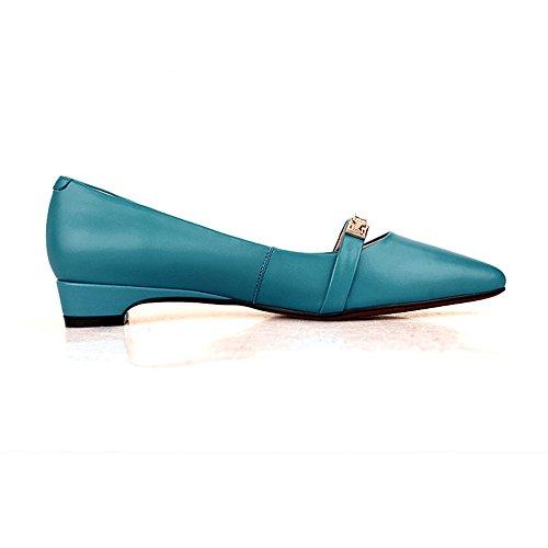 Nine Seven Cuero Puntiagudos Bailarinas Planos Cómodos con Diamantes de Imitacion para Mujer Azul
