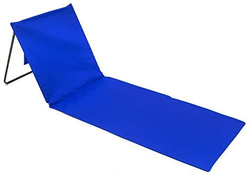 Mat Lounge (Sorbus Beachcomber Mat Folding Beach Chair Lounger with Adjustable Backrest, Storage Pouch, Portable for Beach, Poolside, Camping, Travel, Backyard, Patio, etc (Beachcomber Mat – Blue))