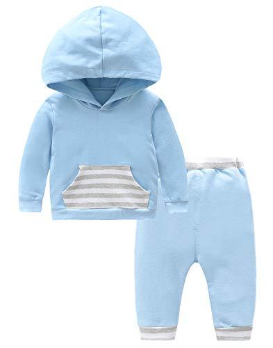 Fiream Baby Boys Cotton Print Bodysuits Longsleeve Stripe Hoodie Tops Sweatsuit Pants Outfit Sets(BA0413,0-6M)