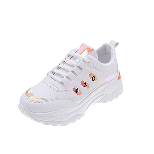 Dainzuy Sneaker for Women Wide Width Lace Up Mix Color Shiny Breathable Soft Wedge Thick Bottom Sneakers Orange