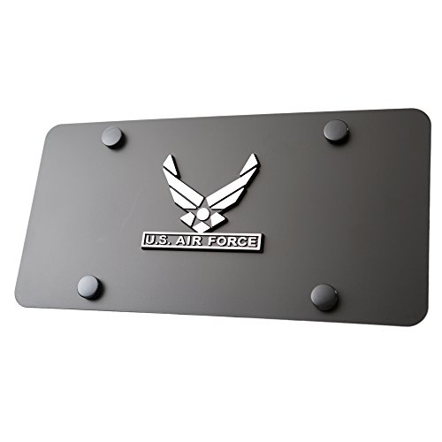 (LFPartS US Air Force 3D Chrome Badge Emblem on Black Stainless Steel License Plate)