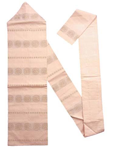 錫キャンディー呪いリサイクル 名古屋帯 正絹  横段に双獣文様や幾何学模様