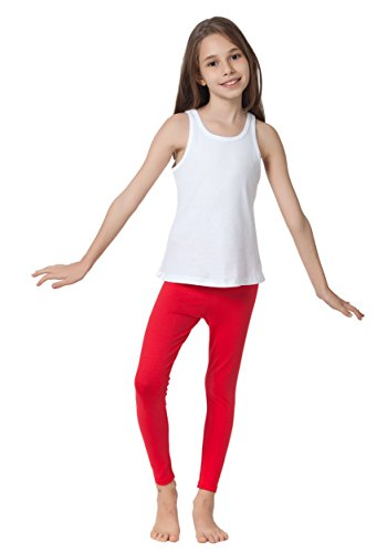 CAOMP Girl's Ankle Length Leggings, Certified Organic Cotton Spandex, School or Play, Red, Size 9/10 (Leggings Dress Play)