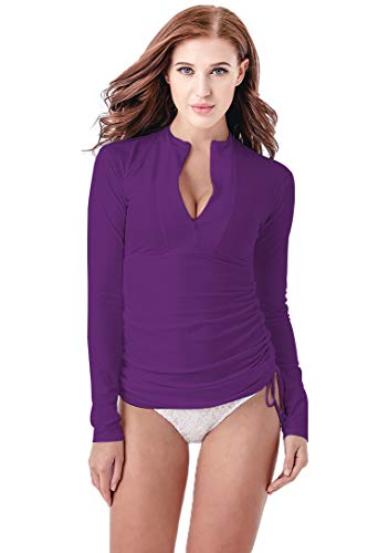 Micosuza UV Sun Protection Women's Basic Skins Long-Sleeve Rashguard Top, Purple, M for Chest 34