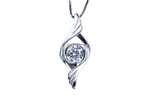 Womens Pendant Necklace Silver Plated Angel Wings Pendant Necklace zircon Pendant 10X22mm Aooaz Jewelry