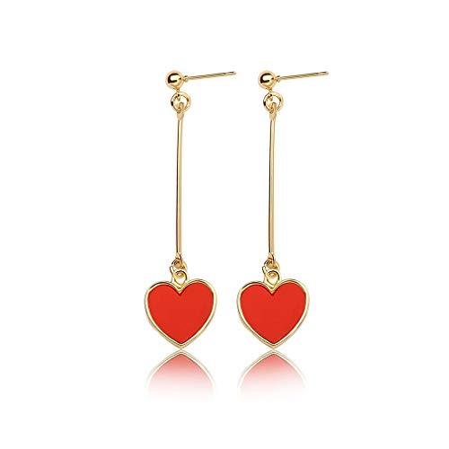 JUESJ Simplicity Long Stick Black Red Love Dangle Earrings,Geometric Long Short Term Black Peach Heart Love Earrings for Women Girls Birthday Gifts (Red)