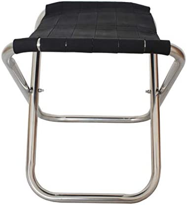 XBZDY Folding Stool, Thick Stainless Steel Outdoor Portable Fishing Stool Camping Stool 30×30×30cm, Black