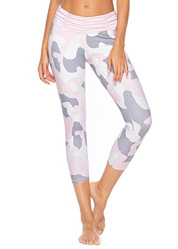 Mint Lilac Women's Printed Yoga Pants Workou Capri t Running Leggings with Ruched Waistband Medium