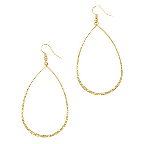 (Columbus Lightweight Statement Teardrop Hoop Earrings in Gold or Silver with Hammered Texture (Gold))