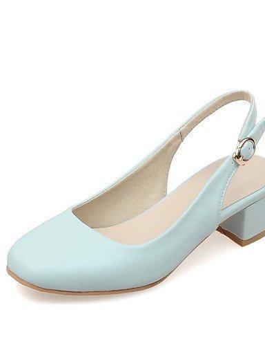 ShangYi Womens Shoes Chunky Heel Heels / Square Toe Heels Office & Career / Dress / Casual Black / Blue / Pink / Beige Blue