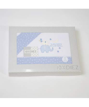10/X dix Parure de lit Berceau Flanelle 031/Blanc//Bleu Minicuna 50x80cm