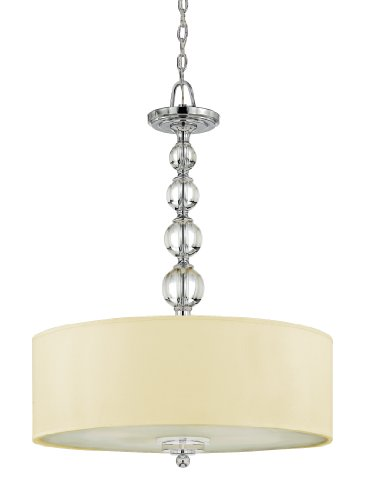 Quoizel DW1824C Downtown 4-Light Chandelier with Cream Drum Shade, Polished Chrome
