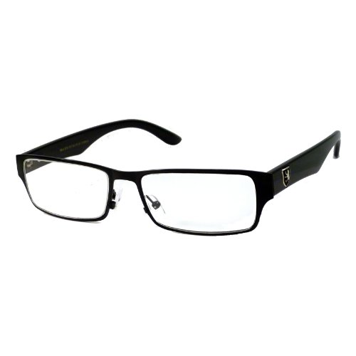 KHAN Designer Metal COOL Trendy Frame Clear Lens Eye Glasses Rx BLACK