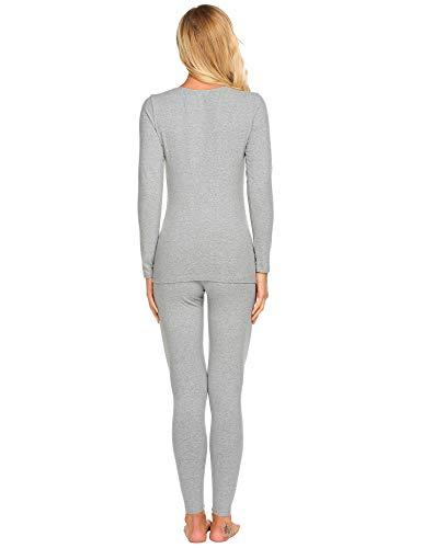 Ekouaer Thermal Underwear Women's Cotton Long Johns Set Scoop Neck Top & Bottom Pajama Winter Base Layering Set, Grey, Large by Ekouaer (Image #4)