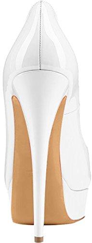 Trusify Mujer 15cm EU tamaño 34-46 Truthunder Tacón de aguja 15CM Sintético Sandalias de vestir Blanco