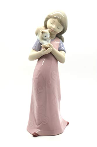 Nao Girl Figurine Porcelain - Nao by Lladro Collectible Porcelain Figurine: KITTY CUDDLES - 5 1/4