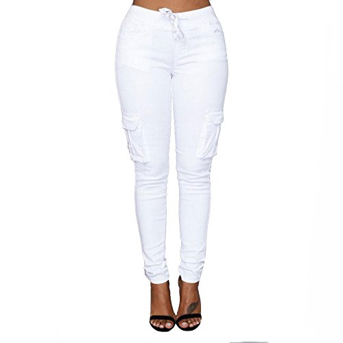 (Women's Solid Color Stretch Cargo Joggers Casual Pockets Drawstring Skinny Pants White)