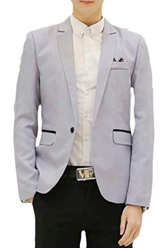 Classique Vestes Hommes Pour 1 Costume Loisirs Fit Avec Longues Style Garçons Blazer Casual Veste Slim Grau Bouton Manches D'affaires Homme O8Fxq7fA