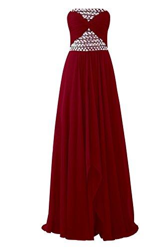YiYaDawn Langes Partykleid Abendkleid Abiballkleid für Damen Weinrot DYfbAZZc