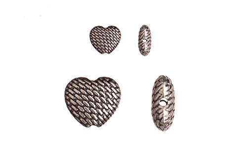 Pewter beads, burnished silver plated, double-sided puff heart, 9x10mm sold per 10pcs per pack