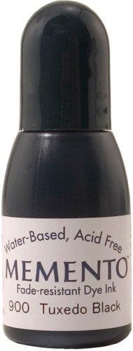 Tsukineko 1/2 Fluid Ounce Memento Fade-Resistant Water-Based Dye Inker, Tuxedo Black